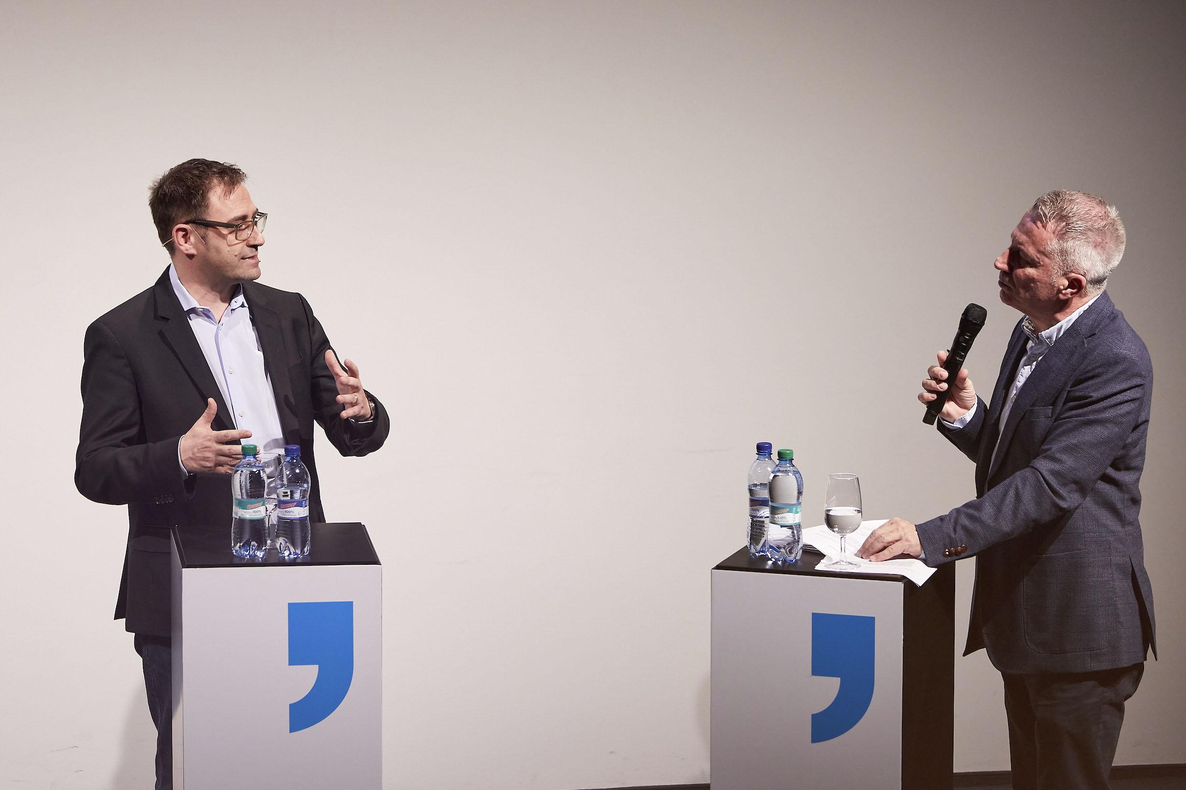 Roger Elsener von CH Media und Reto Lipp am Communication Summit 2020.